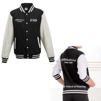 Unisex Varsity Jacket (Black/White) with Finch School Of Dancing Logo