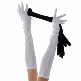 White Elbow Length Gloves