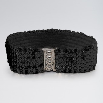 Black Stretch Sequin Belt