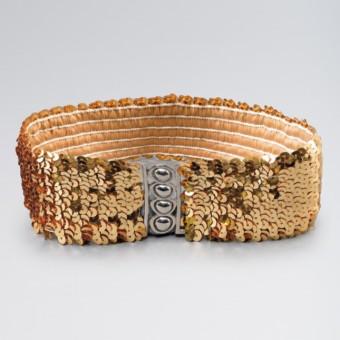 Gold Stretch Sequin Belt