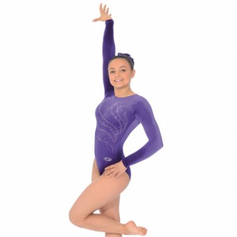 The Zone Tiara Round Neck Long Sleeve Leotard (Purple)